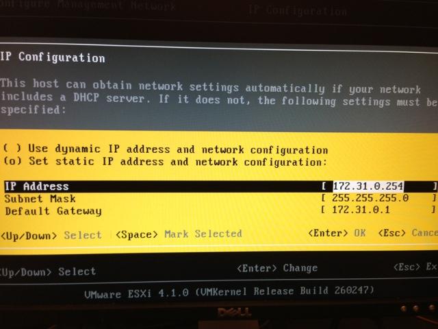 IP Configurationダイアログ